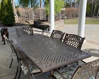 6 Seater Patio Table & Chairs  - lightweight cast iron $825- - NEW PRICE $725