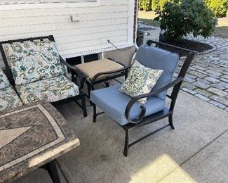 Pair of outdoor chairs with blue cushions $75