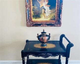 "ORNATE WOODEN HAND PAINTED TEA CART 35""L x 22""W x 34.5""H BEAUTIFUL LIDDED URN 13.5"" HEIGHT  H. MATHEWS OIL ON CANVAS PAINTING  34""L x 30""W"