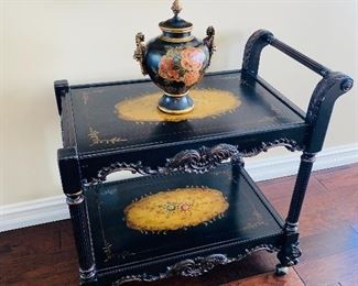 "ORNATE WOODEN HAND PAINTED TEA CART 35""L x 22""W x 34.5""H"