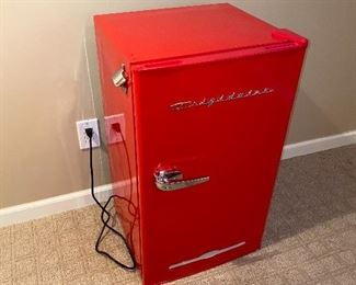 "RED FRIGIDAIRE MINI FRIDGE  19""L x 17""W x 32""H"