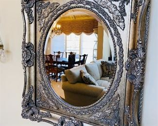 "ORNATE PLATINUM SILVER MIRROR  35.5""L x 31""W"