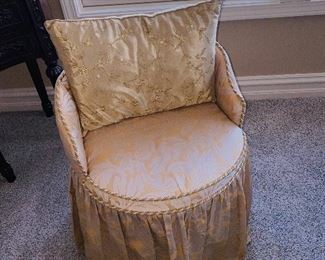 "BEIGE / TAUPE ROUND CHAIR (2 AVAILABLE)  17""DIA x 25""H"