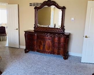 "UNIVERSAL FURNITURE KING SIZE BEDROOM SET DRESSER WITH MIRROR  DRESSER 74""L x 20.5""W x 38""H MIRROR 54""L x 49""H"