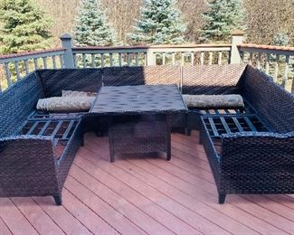 PATIO FURNITURE-SECTIONAL WITH TABLE-SOLD AS IS