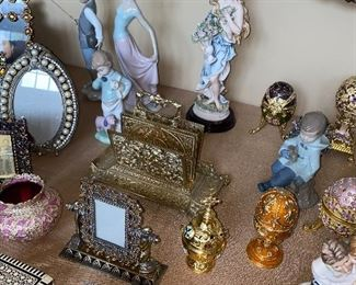 FABERGE STYLE EGGS / PICTURE FRAMES / NAO FIGURINES