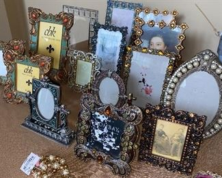 GORGEOUS ENAMEL AND CRYSTALS PICTURE FRAMES