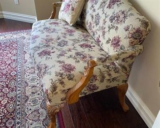 "WOODEN UPHOLSTERED LOVE-SEAT 49""L x 28""D x 36""H"