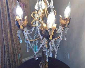 "CRYSTAL CANDELABRA LAMPS 28"" HEIGHT"