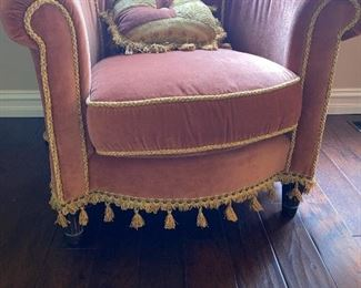 "CUSTOM MADE TASSEL CHAIRS (2 AVAILABLE)  36""W x 32""D x 33""H"