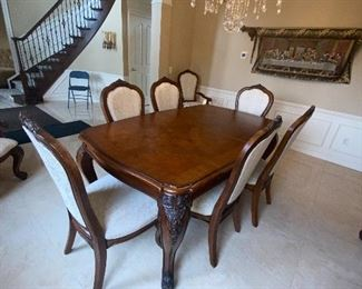 "GORGEOUS AMERICAN DREW DINING TABLE WITH 8 CHAIRS (2 EXTRA LEAF AVAILABLE) 74""L x 46""W x 31""H WITHOUT LEAVES"