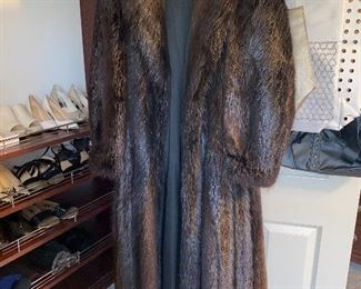 LONG BEAVER FUR COAT