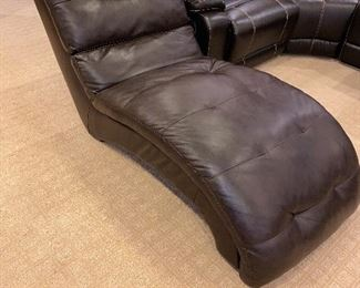 "BLACK PLEATHER LOUNGER 77""L x 30""W x 33""H"