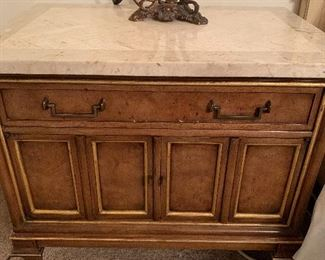 Two night stands with marble tops by.     Mastercraft