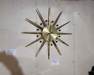 Vintage MCM Seth Thoma sunburst wall clock, as-is