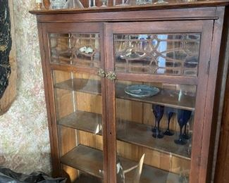 . . . beautiful mission-style, turn-of-the-century oak china cabinet -- what a find!  -- and we're just getting started!