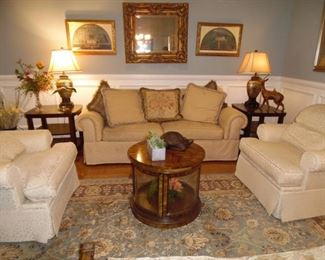 Living Room Grouping, Upholstered Sofa & 2 Arm Chairs  Really comfortable, Coffee Table,  2 End Tables, Rug