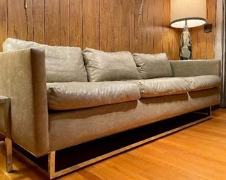 "Item 188:  Mid Century Grey Leather Sofa with Chrome Base - 85.5""l x x 26""h:  $700"