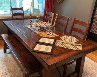 Pottery Barn Farmhouse Table with 4 chairs, bench and 2 leaves