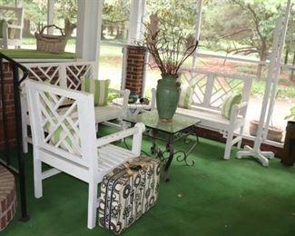 Vintage Chippendale Wooden Garden Bench & Chair