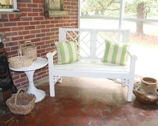 Vintage Chippendale Wooden Garden Bench