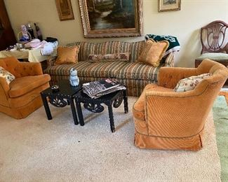 2 Wonderful Swivel Barrel Granny Chic Chairs