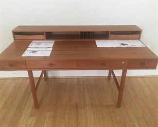 Danish teak flip top desk by Peter Lovig Nielsen