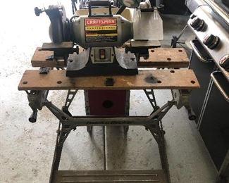 Black and decker workbench, craftsman 8 inch bench grinder.
