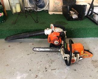 Stihl MS210C chainsaw, Stihl BG 25 Leaf blower.
