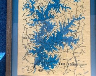 Handcrafted map Lake Norman