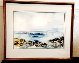 "Lot #	7 Ellie Carbone ""Sea Spray On Maine's Bold Coast"" Description:	 Watercolor Painting; Original, Signed, Approx. 22"" X 25"" (Framed), Glass & Triple Matted"
