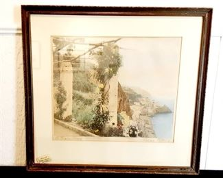 "Lot #	3 Wallace Nutting ""The Pergola, Amalfi"" Hand Description:	 Colored Photo; 1904 Copyright, Approx. 21"" X 23.5"" (Framed), Hand Tinted Photograph, Signed"