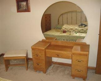 Vintage Blond Vanity Dresser with Round Mirror and Stool...