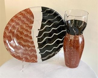 "Kosta Boda Tonga Pattern Platter and Pitcher   Platter measures 12"" x 10""  Pitcher measures 10.5"" high"