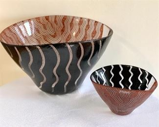 "Two Tonga Kosta Boda Bowls signed by Monica Backstrom  Large bowl measures 6.5"" h x 11"" w  Small bowl measures 3.25"" h x 5.8"" w"