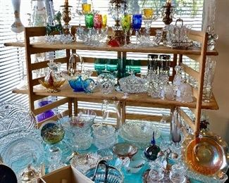German colored crystal stemware, glassware, mid century scales of justice with crystals