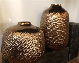 Copper tone ceramic vases