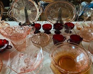 Pink Depression & Ruby Glass