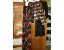 Dress Lot Dresses and Jacket, IN Studio Size Med Black Dress, INC size 6, Black Floral Dress and Maggy L size 8 Embroidered Jacket. Very good Condition