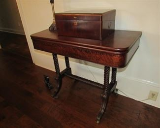 Burled walnut 1853 flip top game table