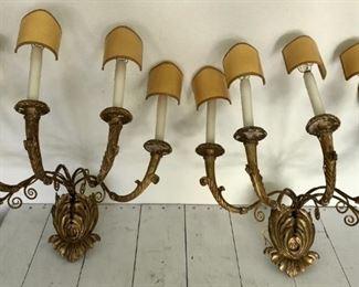 Vintage Ornate Gilt Gold Electric Wall Sconces