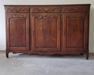 Nice Vintage French Country Carved Oak Sideboard
