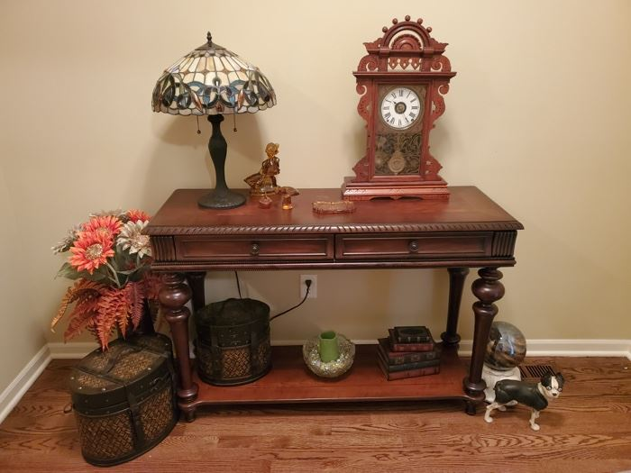 Antique Gingerbread Mantle Clock. Entry Sofa Table