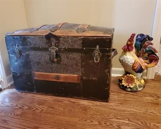 Antique Trunk with hand painted mural