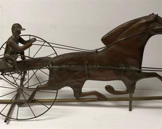 Copper & Brass Horse Drawn Cart Weathervane
