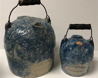 Blue Spongeware Maple Syrup Jugs Including St. Louis