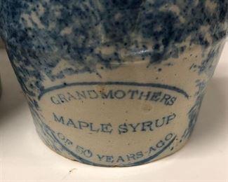 Blue Spongeware Grandmothers Maple Syrup Jug