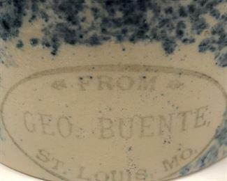 Blue Spongeware Maple Syrup Jug, Geo. Buente, St. Louis, MO