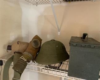 Military pcs including helmet, mask, canteen & ammo box
