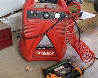 Husky 2.0 Easy Air To Go Air Compressor, Bostitch Nail Gun